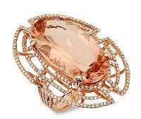 23.21ct Morganite 14 K Rose Gold Ring