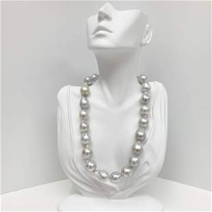 15-17mm South Sea White Drop/Baroque Pearl Necklace