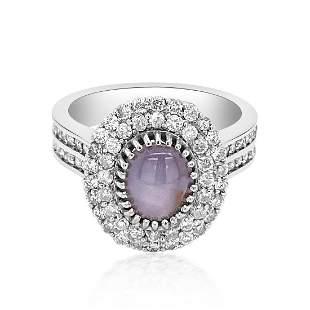 2.61ct Natural Ceylon Star Sapphire 14K White Gold Ring