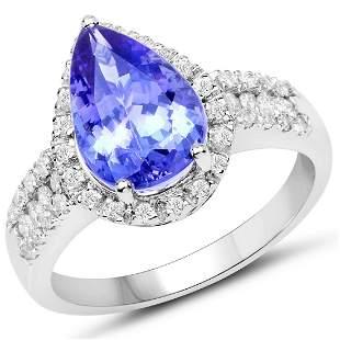 3.62ct Tanzanite 14K White Gold Ring