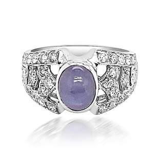 2.74ct Natural Ceylon Star Sapphire 18K White Gold Ring