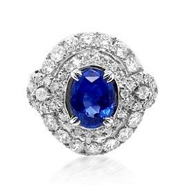 GIA 1.83ct Blue Ceylon Sapphire 14K White Gold Ring