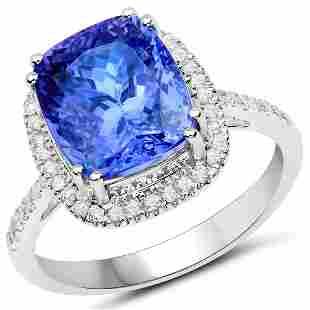 5.73ct Tanzanite 14K White Gold Ring