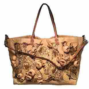 Valentinio Beige Canvas Floral Sequin Tote Bag