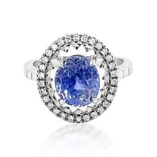 4.98ct Natural Ceylon Blue Sapphire 14K White Gold Ring