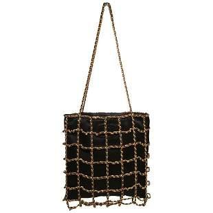 RARE Chanel Vintage Black Silk Chain Cage Evening