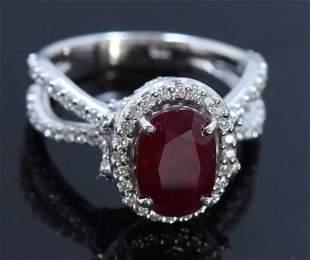GIA 3.53ct Natural Ruby 14K White Gold Ring