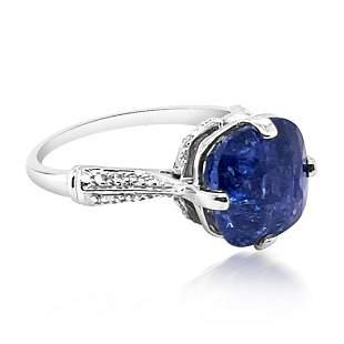 6.59ct Natural Ceylon Blue Sapphire 14K White Gold Ring