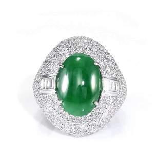 GIA 5.41ct Type A Imperial Jadeite Jade 18K White Gold