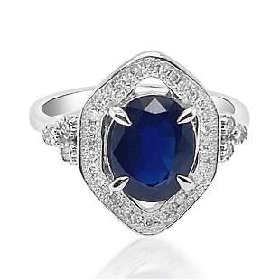 2.56ct Natural Ceylon Blue Sapphire 14K White Gold Ring