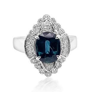 2.42ct Natural Ceylon Blue Sapphire 14K White Gold Ring