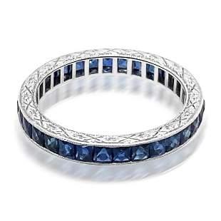 Natural Ceylon Blue Sapphire Hand Carved Platinum Ring