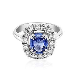 1.86ct Natural Ceylon Blue Sapphire 14K White Gold Ring