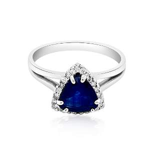 1.15ct NATURAL CEYLON Blue Sapphire 14K White Gold Ring