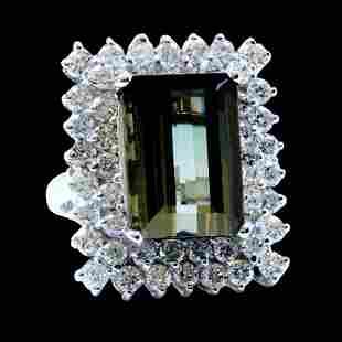 10.35ct Tourmaline 14K White Gold Ring