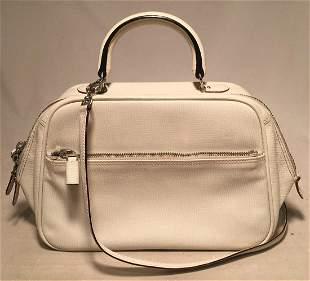 Valextra White Leather Top Handle Shoulder Bag