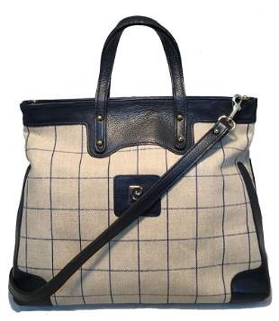 Piere Cardin Vintage Beige and Navy Plaid Tote
