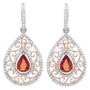 2.1ct Orange Sapphire 14 K White Gold Earrings
