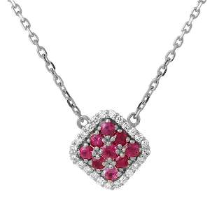 0.48ct Ruby 14 K White Gold Necklaces