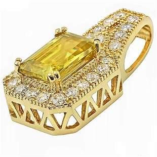 3.53ct Sphene 14 K Yellow Gold Pendant