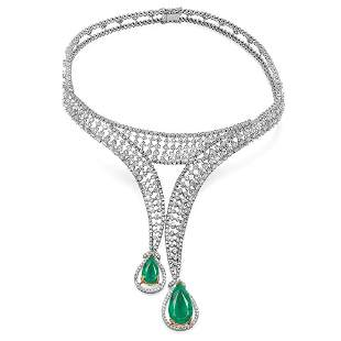 18.03ct Emerald 18 K White Gold Necklaces