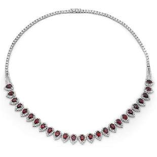 11.87ct Ruby 14 K White Gold Necklaces