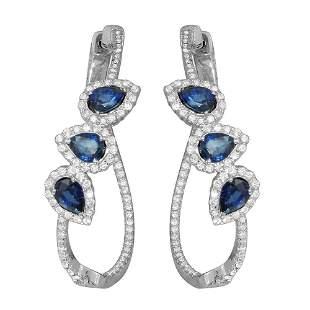 2.45ct Blue Sapphire 14 K White Gold Earrings
