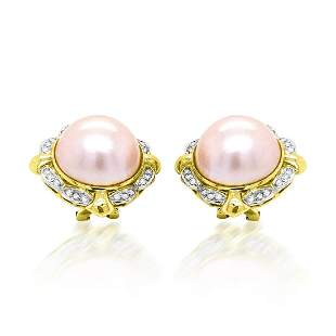 MABE PEARL 14K YELLOW GOLD EARRINGS
