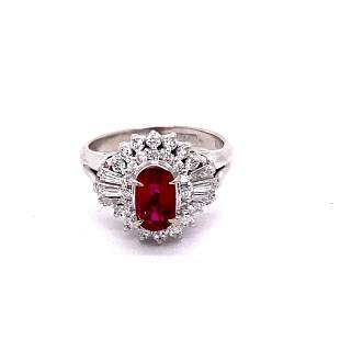 GIA 1.18ct Natural Burma Ruby 18K White Gold Vintage