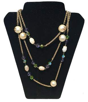 Chanel Vintage Large Pearls and Green and Purple