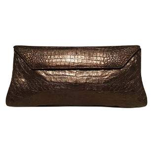 Nancy Gonzalez Bronze Brown Crocodile Clutch