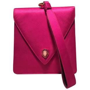 Judith Leiber Vintage Hot Pink Silk Evening Bag