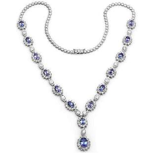 10.57ct Tanzanite 18 K White Gold Necklaces