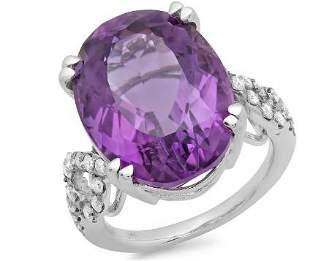 15.03ct Amethyst 14 K White Gold Ring