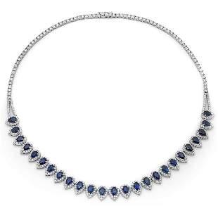 12.85ct Blue Sapphire 18 K White Gold Necklaces