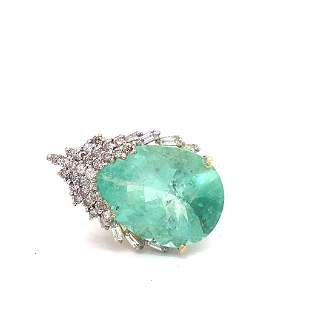 GIA Certified 28.64ct Natural Emerald 14K Yellow Gold