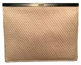 Judith Leiber Vintage Cream Pinched Leather Clutch