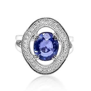2.07ct Natural Ceylon Blue Sapphire 14K White Gold Ring