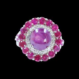 5.28ct Natural Burma Star Ruby 14K White Gold Ring