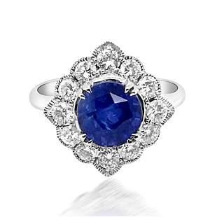 3.07ct Natural Ceylon Blue Sapphire 14K White Gold Ring