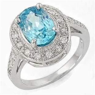 3.62ct Blue Zircon 14 K White Gold Ring
