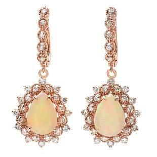 4.3ct Opal 14 K Rose Gold Earrings