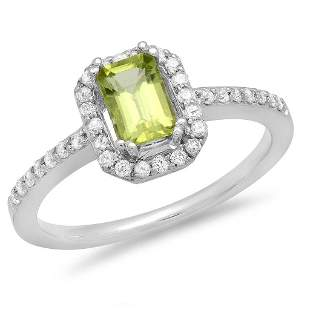 0.69ct Peridot 14 K White Gold Ring
