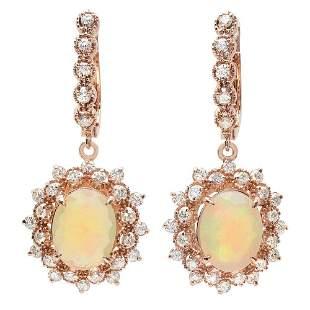 3.9ct Opal 14 K Rose Gold Earrings
