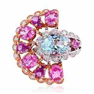 3.04ct Aqua 14K Rose/White Gold 12.7gm Ring