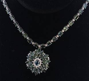 76ct NATURAL CEYLON Green Sapphire 18K White Gold