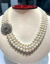 Three strands of Japanese akoya pearls 6-6.5mm Antique