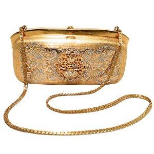 Judith Leiber Gold Filagree Swarovski Crystal Box