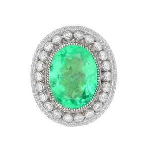 GIA Certified 14.78ct Natural Colombian Emerald 18K