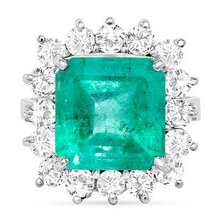 7.15ct Colombian Emerald & Diamond Ring